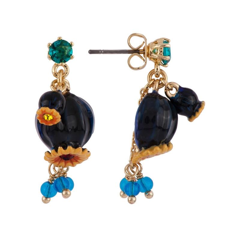 France Dyxytwe Black Poppy flower Enamel glaze Gold pleated Stud Earring For Women Unique Noble Party Brand Jewelry