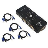 USB KVM 4 Ports Selector VGA Print Auto Switch Moniter Box VGA Splitter V322 USB 2
