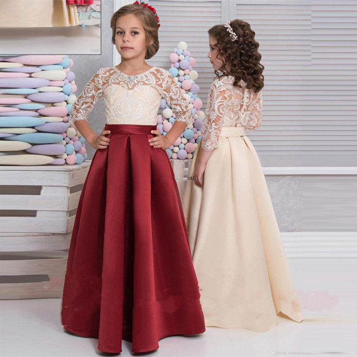 2017 New Pretty Gown for Little Girls First Communion Dress Pageant Gown Satin Kids Flower Girls Dress Vestidos Long fancy pink little girls dress long flower girl dress kids ball gown with sash first communion dresses for girls