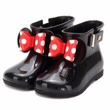Mini Melissa/3 цвета; резиновые сапоги; Новинка года; нескользящие желе резиновые сапоги для мальчиков и девочек; Melissa; обувь с Микки Маусом; прозрачная детская водонепроницаемая обувь