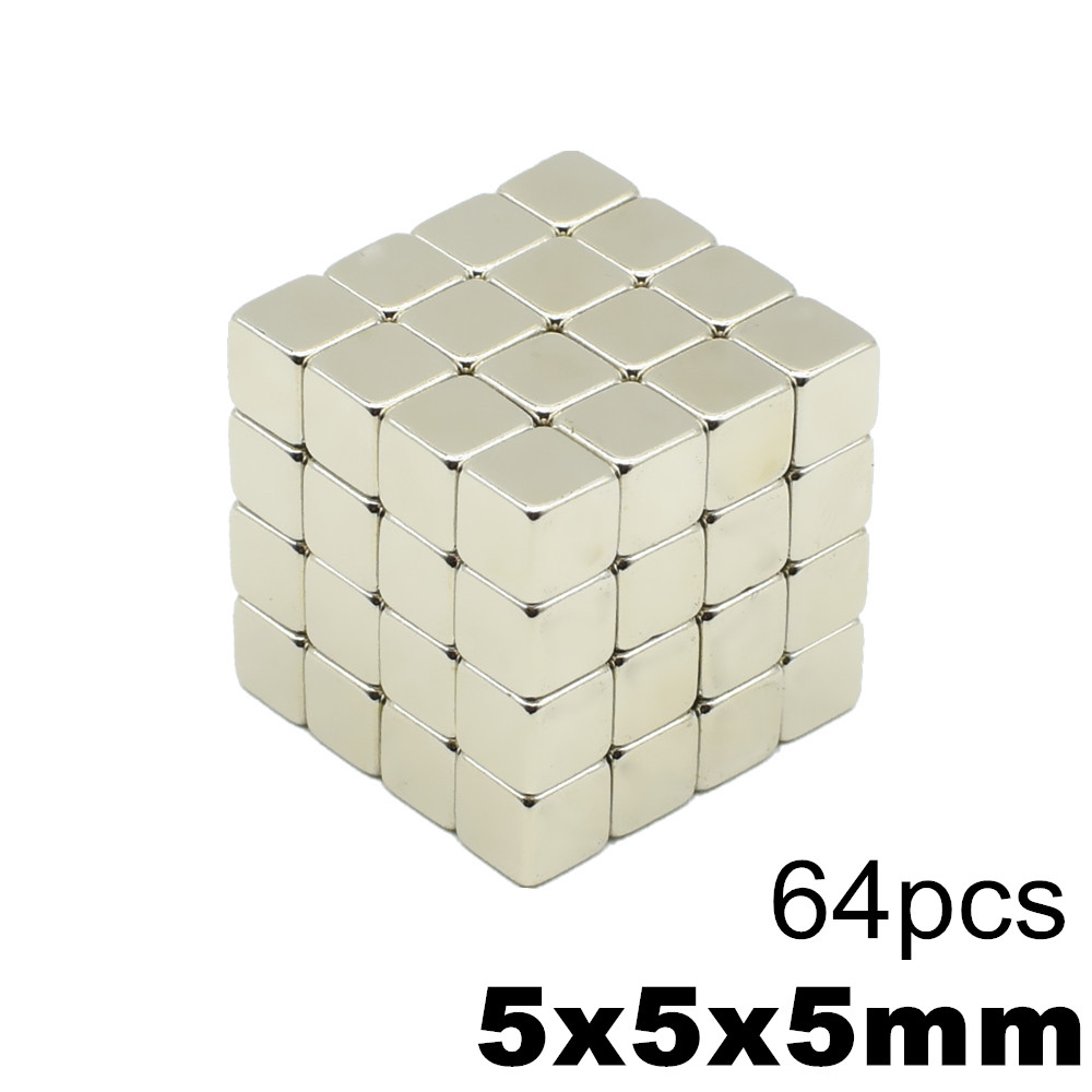 64pcs <font><b>5x5x5</b></font> Strong <font><b>Neodymium</b></font> <font><b>Magnet</b></font> N35 NdFeB Super Powerful Small Block Magnetic Buck cubes <font><b>Magnets</b></font> Build Toy 5mm x 5mm x 5mm image
