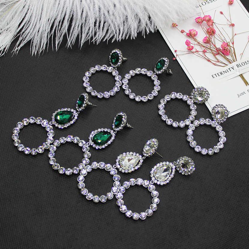 Europe and the fashion catwalk temperament flash geometric earrings inlaid  green ring pendant earrings 705 20e04cdfddfe