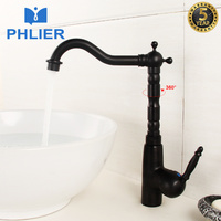 PHLIER Supper High Quality Tall Sink Faucet Bathroom Basin Faucets Antique Brass Bathroom Black Taps Sink