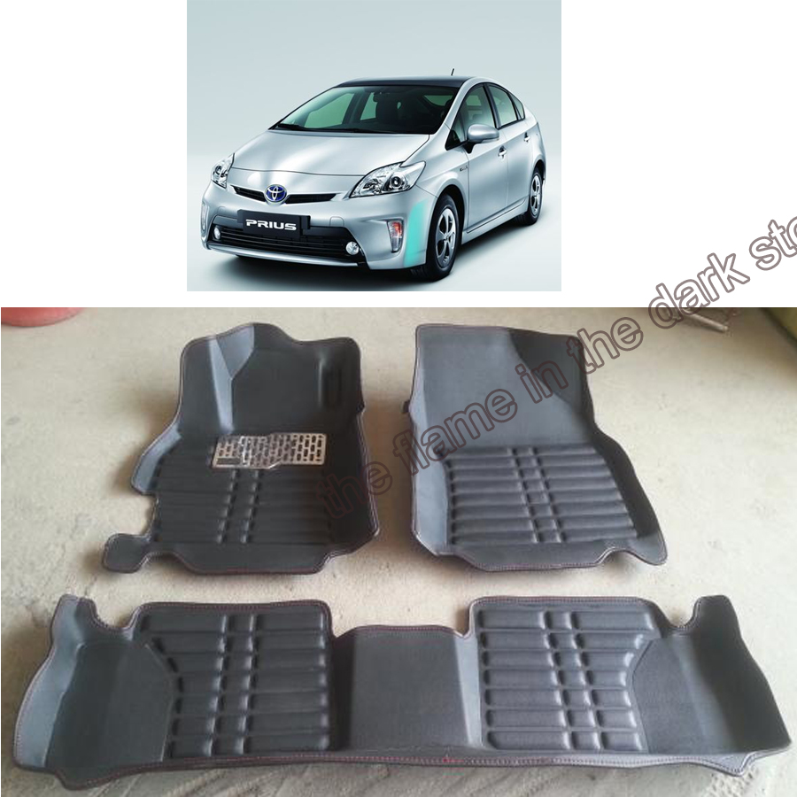 Free shipping leather car floor mat carpet rug for toyota prius xw30 2009 2010 2011 2012