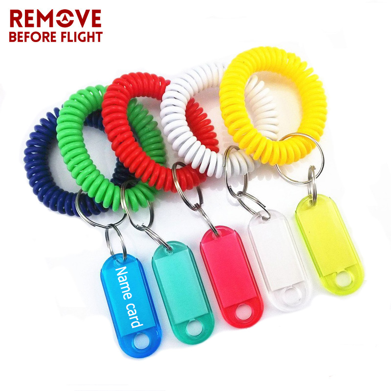 Spring <font><b>ID</b></font> Bracelets for Luggage <font><b>ID</b></font> Tags Keyring Plastic Wrist Band Key Fobs Stretchy <font><b>Coil</b></font> Name Cards Wire-cable Chain Bracelet image