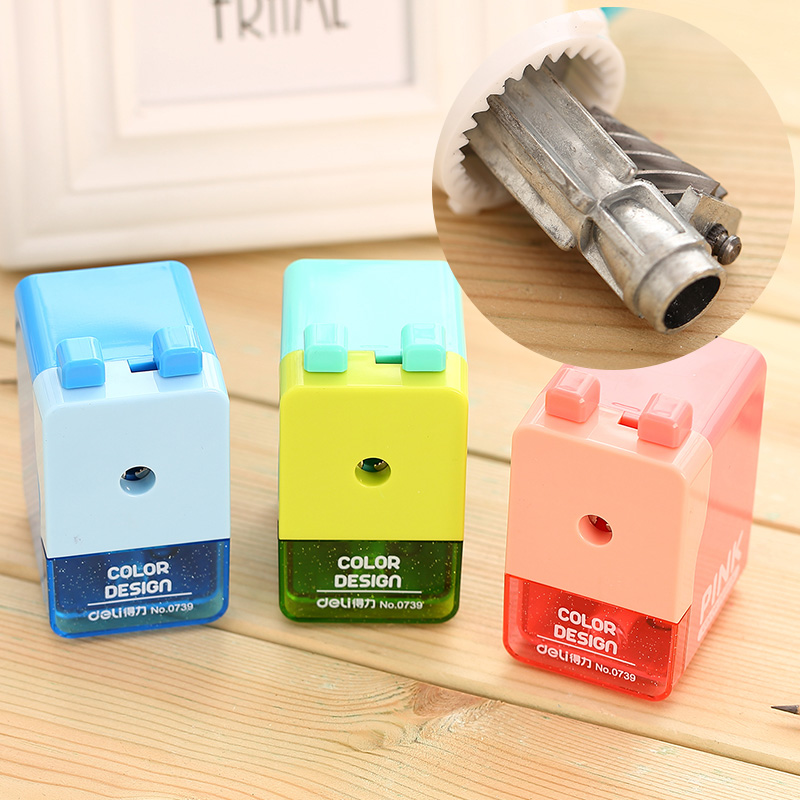 Free shipping candy color deli 0739 pink pencil sharpener mint blue color pencil sharpener new deli 0620 life color big heavy quality pencil sharpener metal pencil sharpener