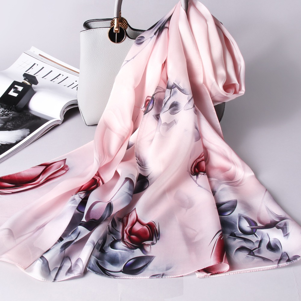 100 Real Silk Scarf Women 2018 Luxury Shawls and Wraps for Ladies Vintage Print Neckerchief Stole Natural Pure Silk Scarves in Women 39 s Scarves from Apparel Accessories