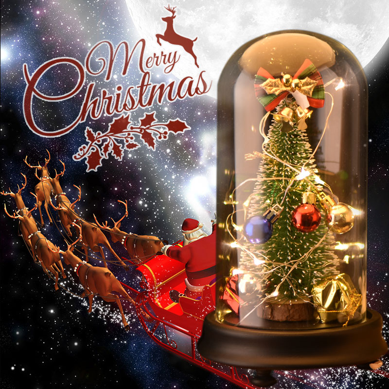 christmas tree decorations with led light music box in glass dome artificial fake plants decor for home christmas ornaments gift