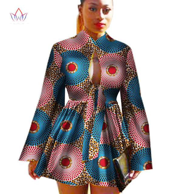 2018  African Dashiki traditional batik women coat robe longue femme print Bazin Riche women coat plus size 5xl regular WY1378