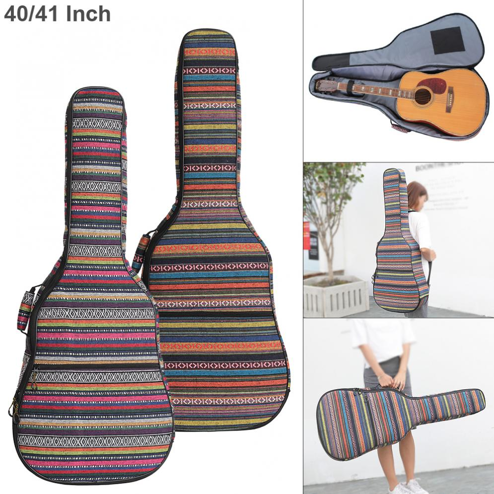 40/ 41 Inch Folk Style Knitted Acoustic Guitar Case Gig Bag Double Straps Pad Cotton Thickening Soft Cover Waterproof Backpack