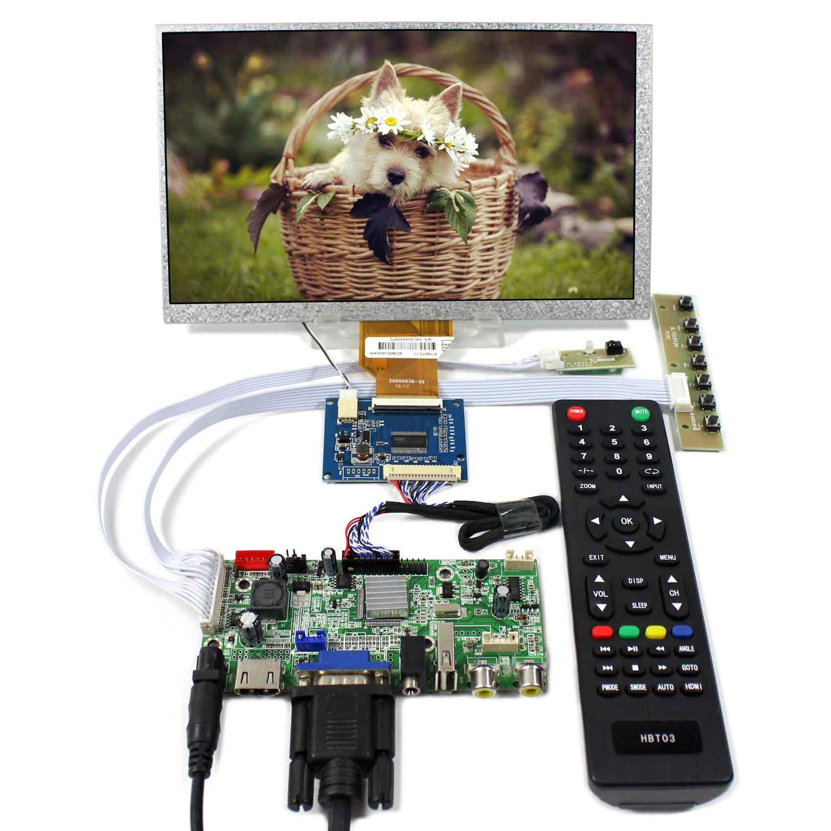 HDMI+VGA+AV+Audio+USB LCD Controller Board With 9inch 800x480 AT090TN10 LCD Screen hdmi vga av audio usb fpv controller board 8 9inch hsd089ifw1 1024x600 lcd panel touch panel screen model lcd for raspberry pi