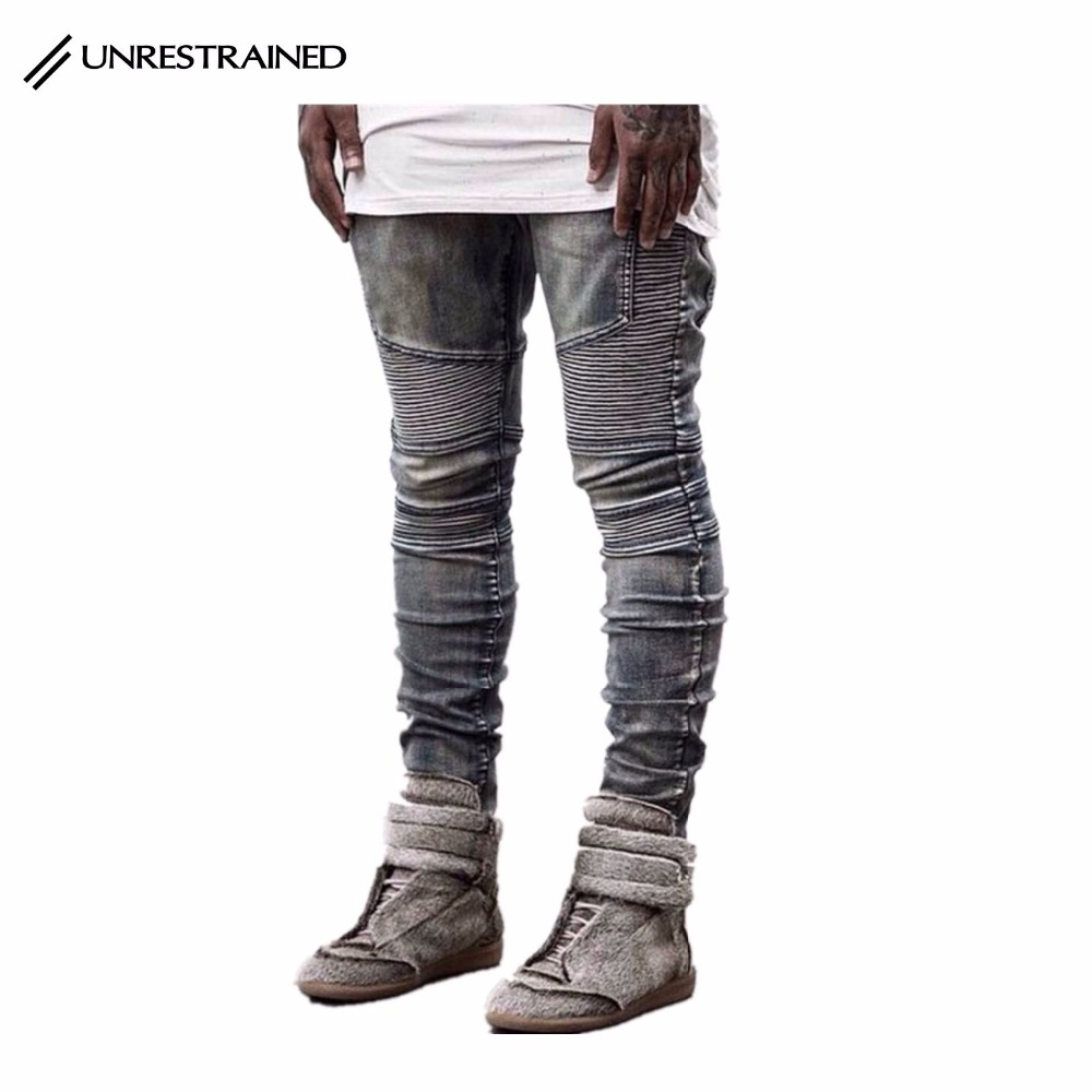 UNRESTRAINED Mens Hipster Hip Hop Slim Jeans Bronze Pleated Denim Skinny Jeans Washing Old Sits At Waist Boot Cut Biker Jeans