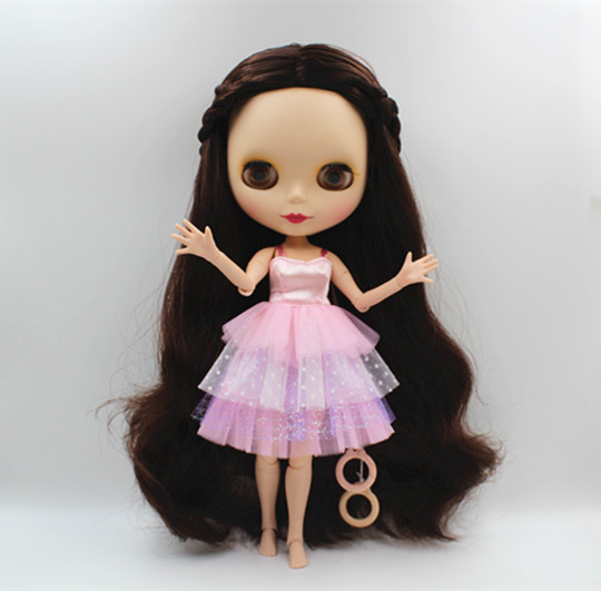 Blygirl Blyth doll Brown hair curled face shell can be closed eyes nude doll 30cm multi-joint body DIY doll can give her makeup