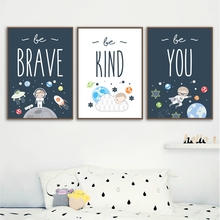 Cartoon Astronaut Wall Art Canvas Painting Nursery Nordic Poster Baby Kids Room Decor Wall Pictures For Living Room Unframed цена