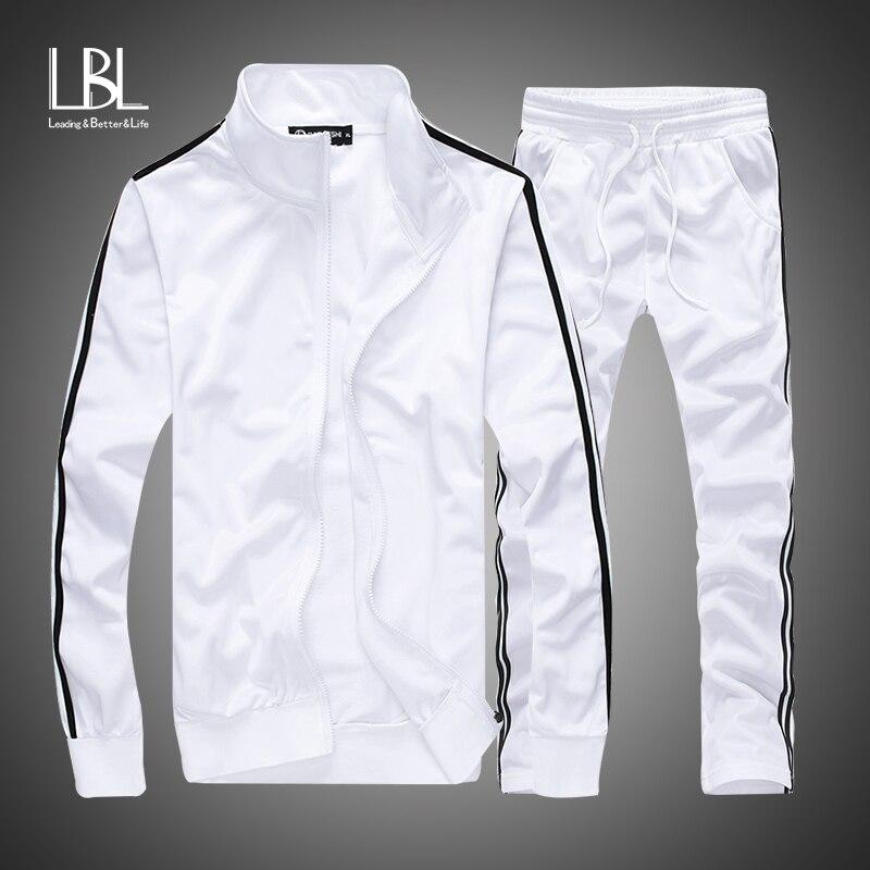 Men Fashion Set 2018 Autumn Casual Sportsuit Men Hoodies/Sweatshirts Sportswear Zipper Coat+Pant Tracksuit Men Brand Clothing