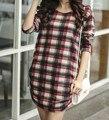 40 designs 2016 Mulheres outono inverno casual tops & t camisa Solta de manga comprida moda xadrez Impresso plus size pullover túnica