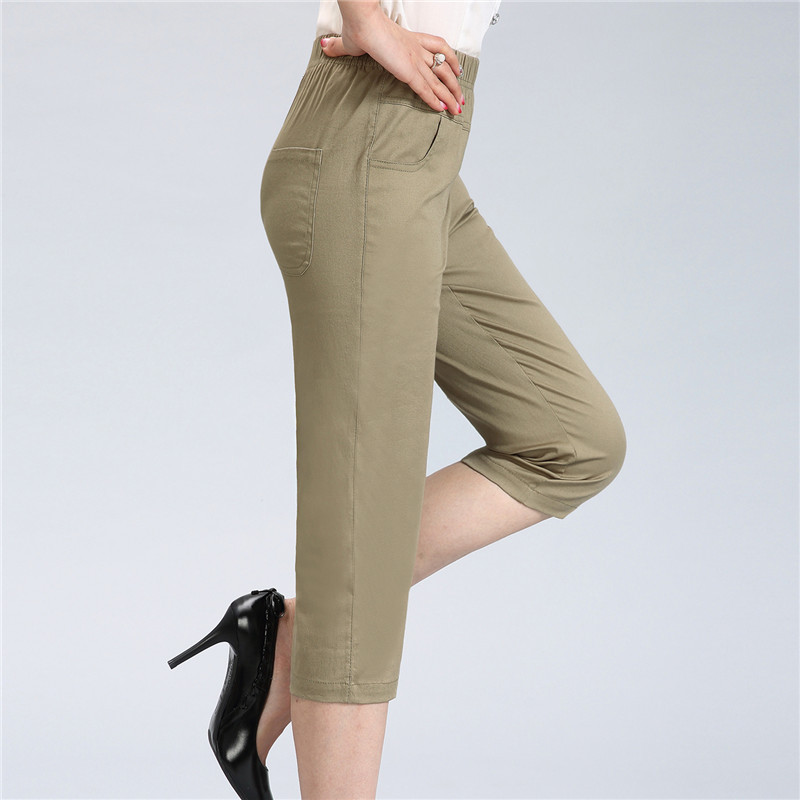 Capri Pants for Women Cotton Casual Pants Summer New Plus Size Middle Age Mother Elastic Waist Ladies Trousers