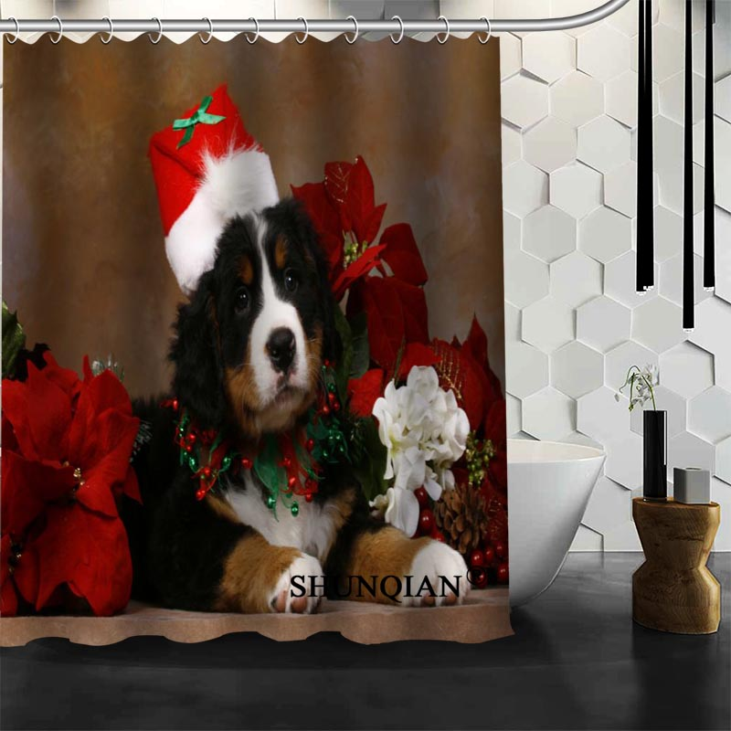 Custom Dog Christmas Shower Curtain Bathroom Accessories Polyester Fabric  Curtain With Holes(China (Mainland