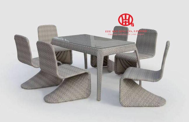 Outdoor French Stylish Rattan Dinning Set Table And Chairs,Elegant Garden Aluminum Dining Table And Rattan Chair,dining Room Set
