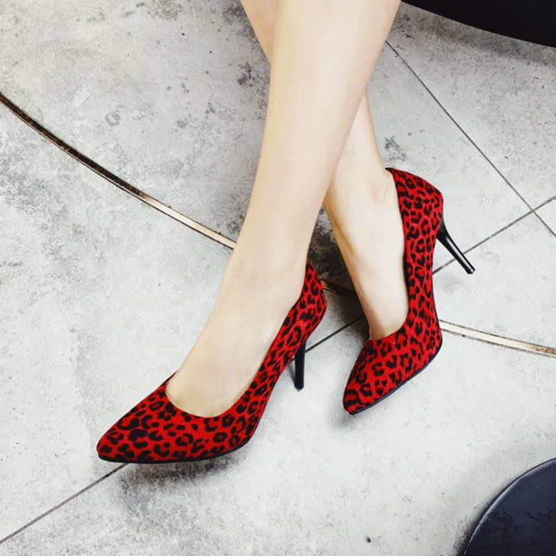 plus size 34 48 Classics Women 39 s Leopard Nubuck Leather Shallow Office Shoes New Arrival Concise Pointed Toe Women Pumps Fashion in Women 39 s Pumps from Shoes