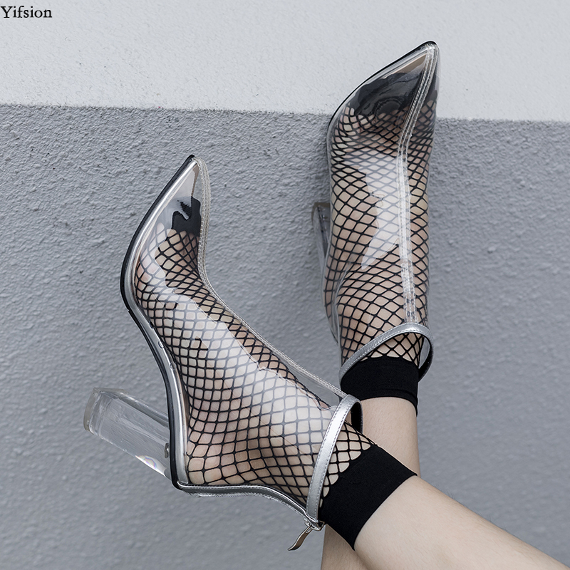 Yifsion New Women Summer Ankle Boots Square High Heel Boots Pointed Toe Gorgeous Black Silver Party  Shoes Women US Size 4-8.5Yifsion New Women Summer Ankle Boots Square High Heel Boots Pointed Toe Gorgeous Black Silver Party  Shoes Women US Size 4-8.5