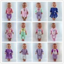 Fashion Clothes Suit Fit For 43cm Baby New Born Doll 17 Inch Dolls Clothes,Children best Birthday Gift(China)