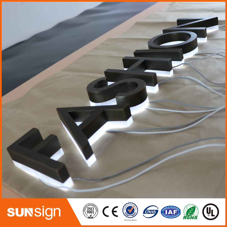 Factory Customized Outlet Outdoor Antique Stainless Steel Backlit Led Letter Sign With Acrylic Backsides Storefront Signs Letter
