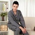 Pijamas de los hombres de Primavera y Otoño ropa de Dormir de manga Larga 100% Algodón Padre Cuadros Clásicos para Hombres Pijamas Conjuntos Salón Pijama 3XL