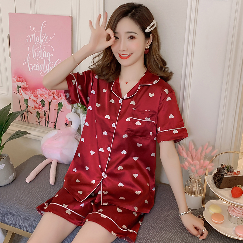 Summer Short sleeve women   pajamas   shorts cardigan lapel imitation silk pyjamas home clothing suit womens luxury sexy   pajama     set
