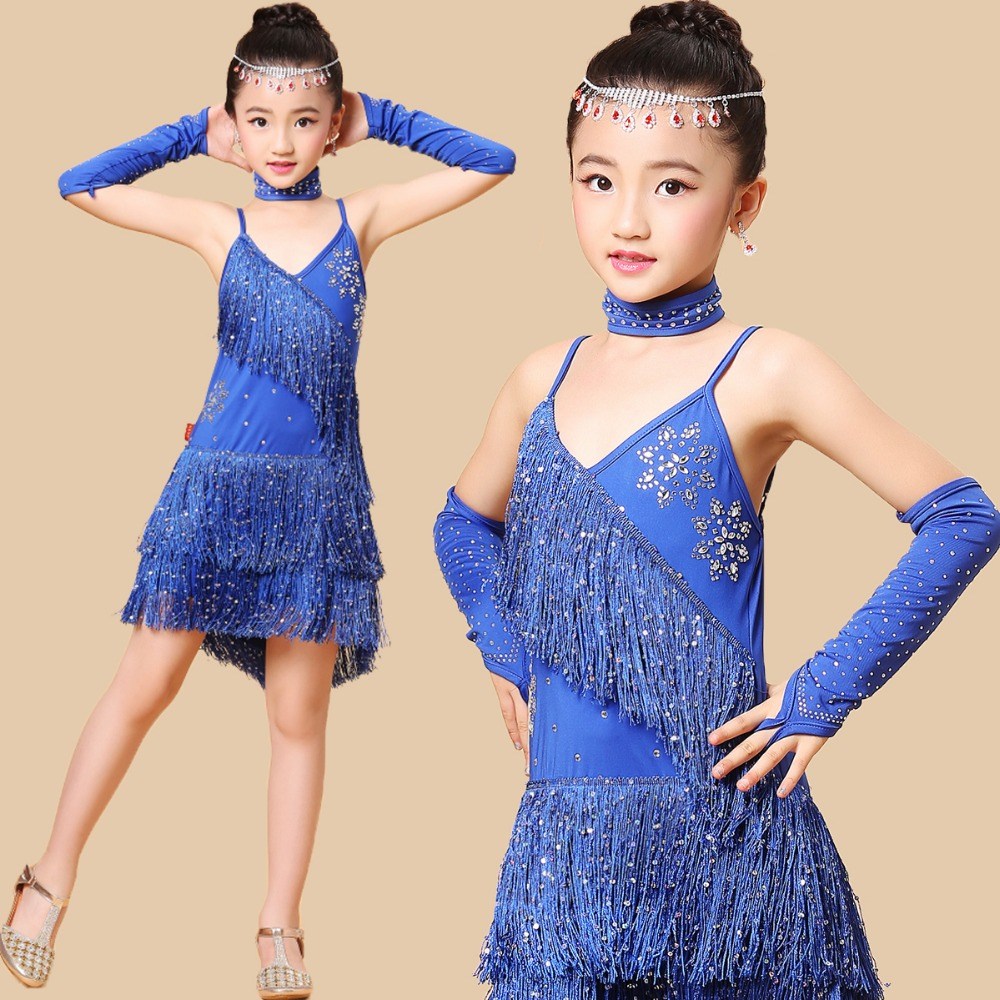 Children Girls Latin Dance Dress Child Clothing Dresses Stage Performance Show Salsa Party Costume Kids Gift Clothes S/M/LXL