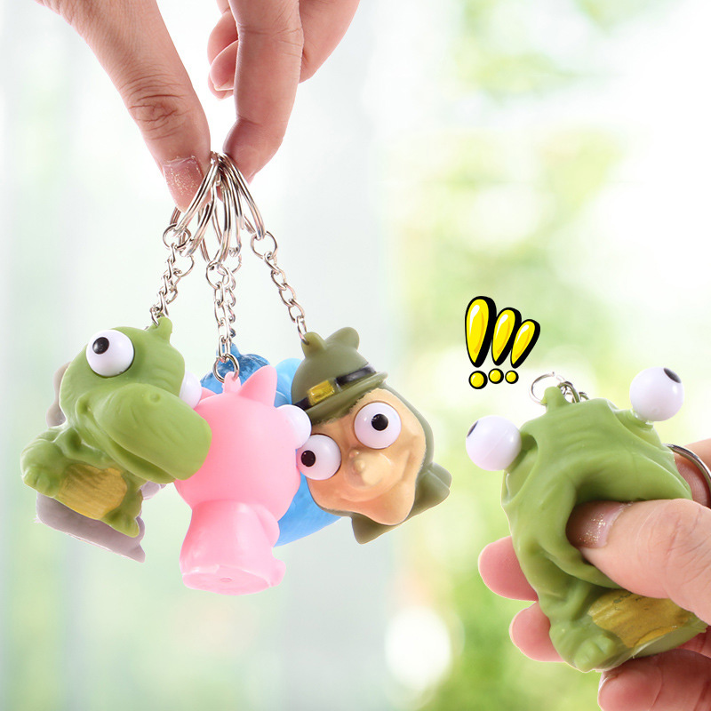 Best Selling Cute Cartoon Squeezing Key Chain Dinosaur Design Spoof Decompression Plaything Children's Toy Pendants Cultivating