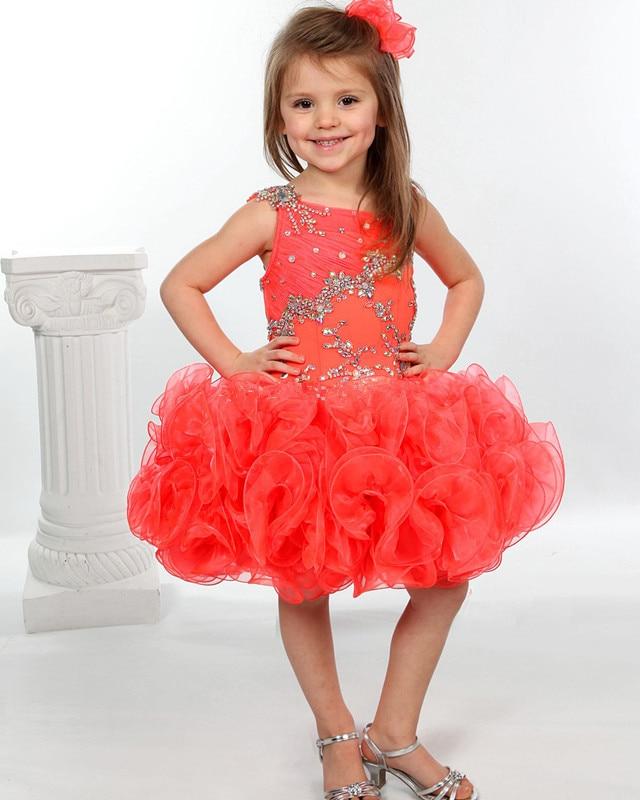 Girls Pageant Dresses Tangerine Little Girls Glitz Cupcake -8302