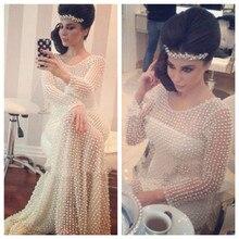 Sexy 2016 Voll Perlen Abendkleider Myriam Fares Kleider Formal Sheer Illusion Langarm Mermaid Abendkleid Robe De Soiree