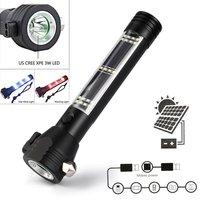 фонарик фонарь светодиодный аккумуляторный Солнечный Мощность светодио дный светодиодный фонарик 9 в 1 Multi-Functional Safety Hammer Torch Light с power Bank магн...