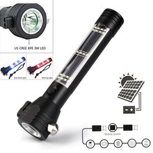 Solar Power LED Flashlight 9 in 1 Multi-Functional Safety Hammer Torch Light With Bank Magnet Survival Tool Emergency Ligh