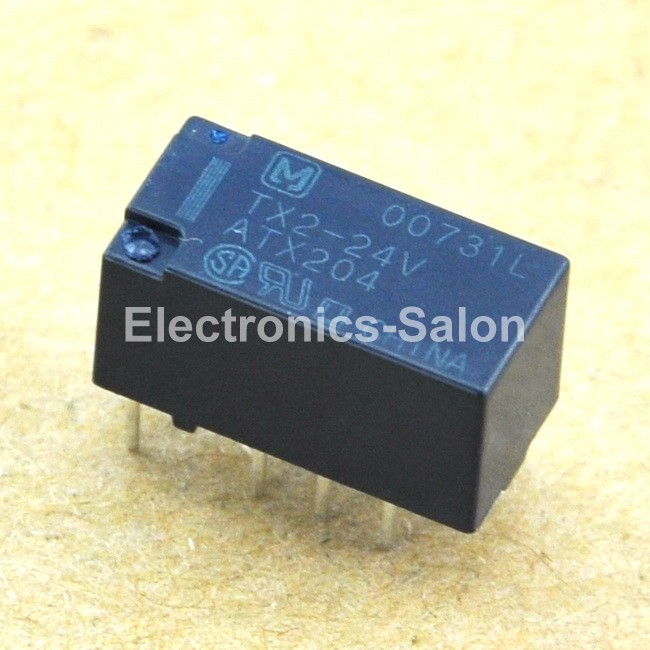 ( 2 pcslot )  TX2-24V Signal Relay, High Breakdown Voltage, DPDT2 Form C, DC.