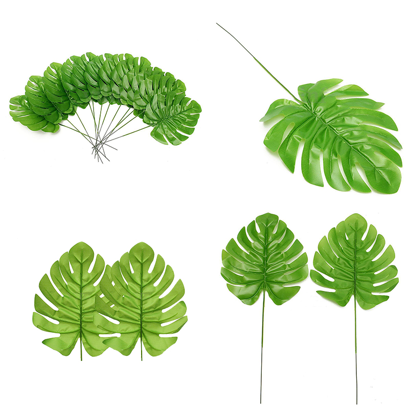 12 Artificial Palm Spray Fern Turtle Leaf Plant Tree Branch For Home ...