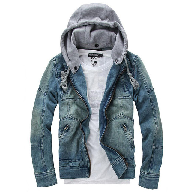 bd3ef7c879569 2016 New Arrival Casual Fashion Men s Denim Jacket Detachable Hooded High  Qality Comfortable Male Cowboy Jacket Plus Size S-3XL
