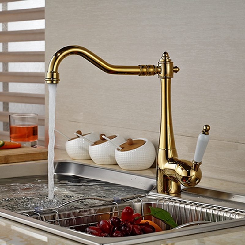 Wholesale And Retail Deck Mounted Golden Brass Kitchen Faucet Vessel Sink Mixer Tap Swivel Spout Single Handle Hole golden brass kitchen faucet dual handles vessel sink mixer tap swivel spout w pure water tap