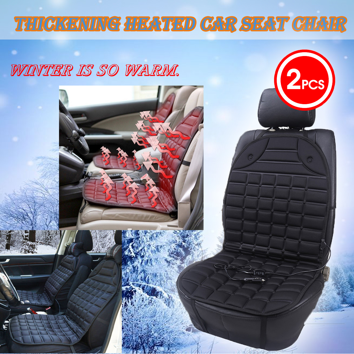 2Pcs Auto 12V Universal Electric Car Heated Seat Cushion Cover Heating Warmer Massage Seat Pad For Winter Car Conjoined Supplies