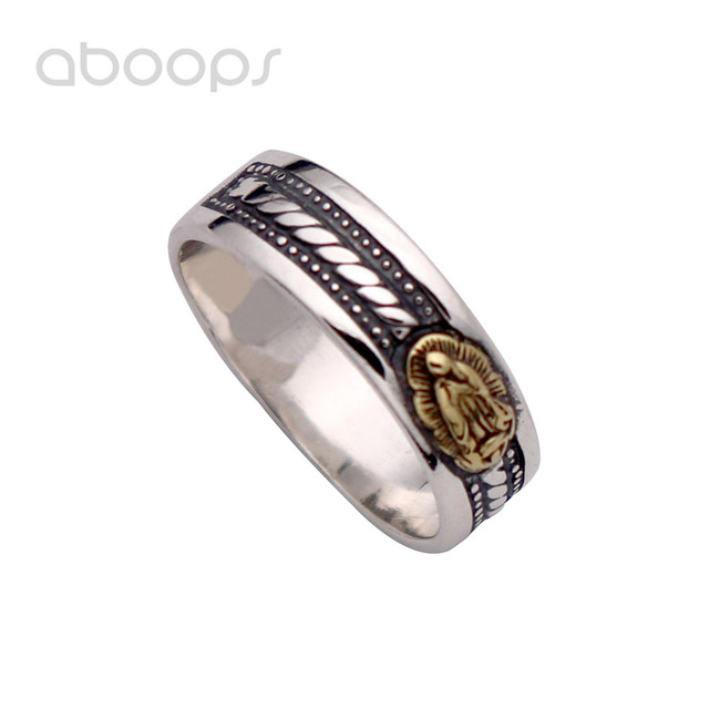 Simple Vintage 925 Sterling Silver Rope Ring Overlaid Golden Mother Virgin Mary for Men Women 6mm Size 7.5 8 9 9.5 10 10.5