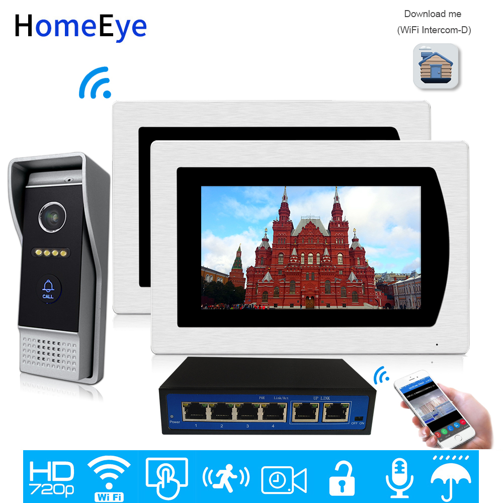 720P IP Video Door Phone Wifi Video Intercom Home Access Control System Smart Phone App Unlock Motion Detection Wide View Angle