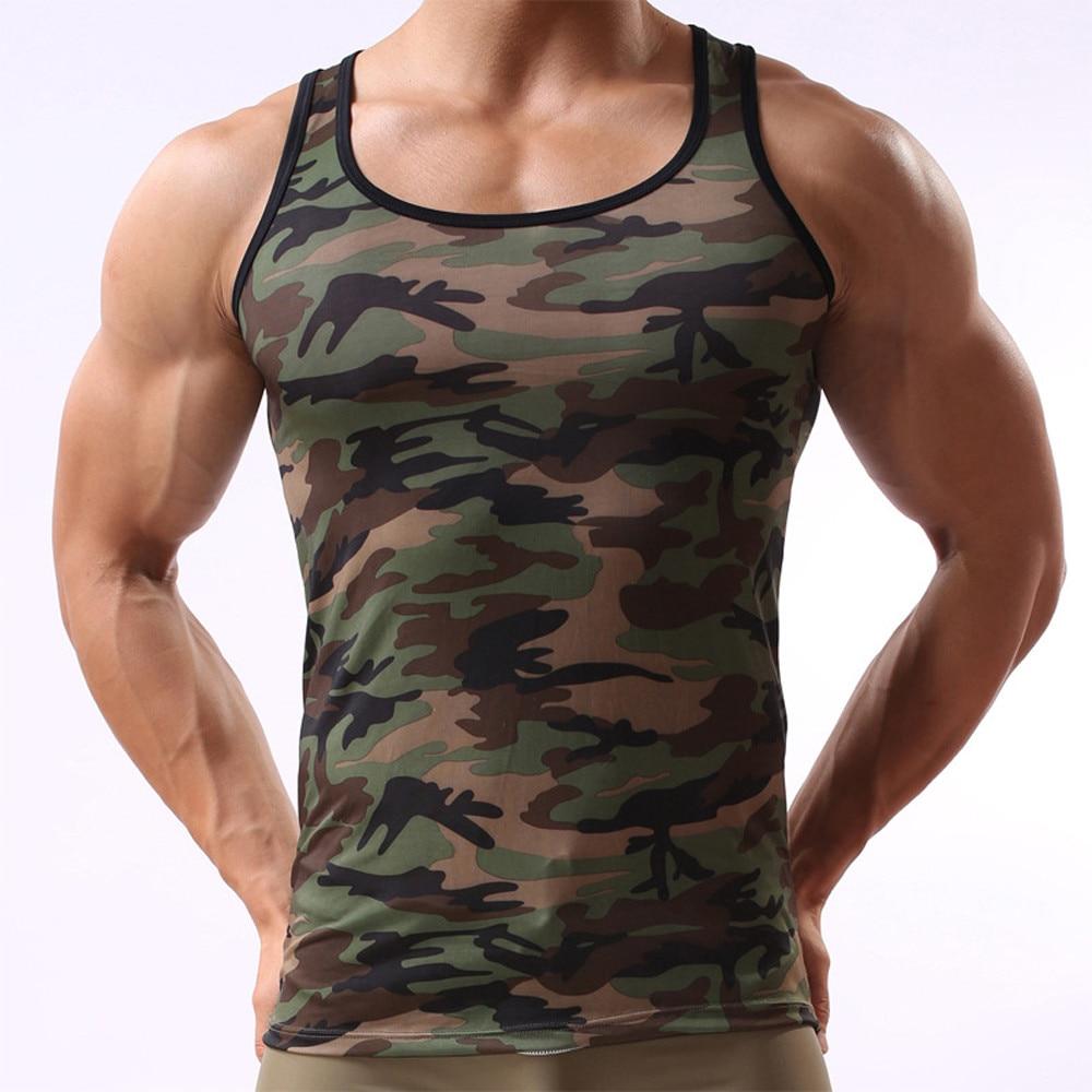 2017 Uomini Camouflage Serbatoio Magliette E Camicette Militare Senza Maniche Degli Uomini Di Camouflage Maglia Abbigliamento Sportivo Senza Maniche Camicia Maglietta Intimo Elegante Nello Stile