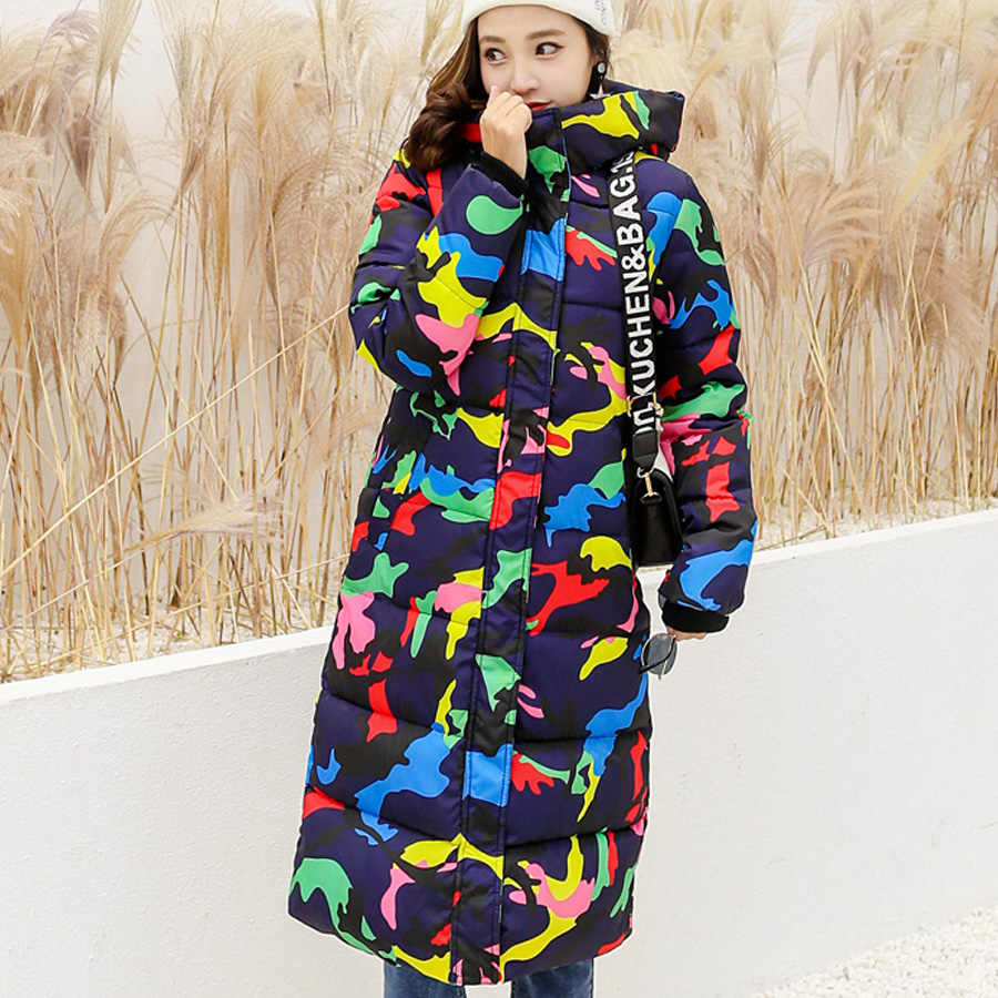 Chaquetas mujer invierno 2018 espesar cálido algodón acolchado abrigos mujer invierno de las ropa mujer con capucha parka women estampado prendas más tamaño