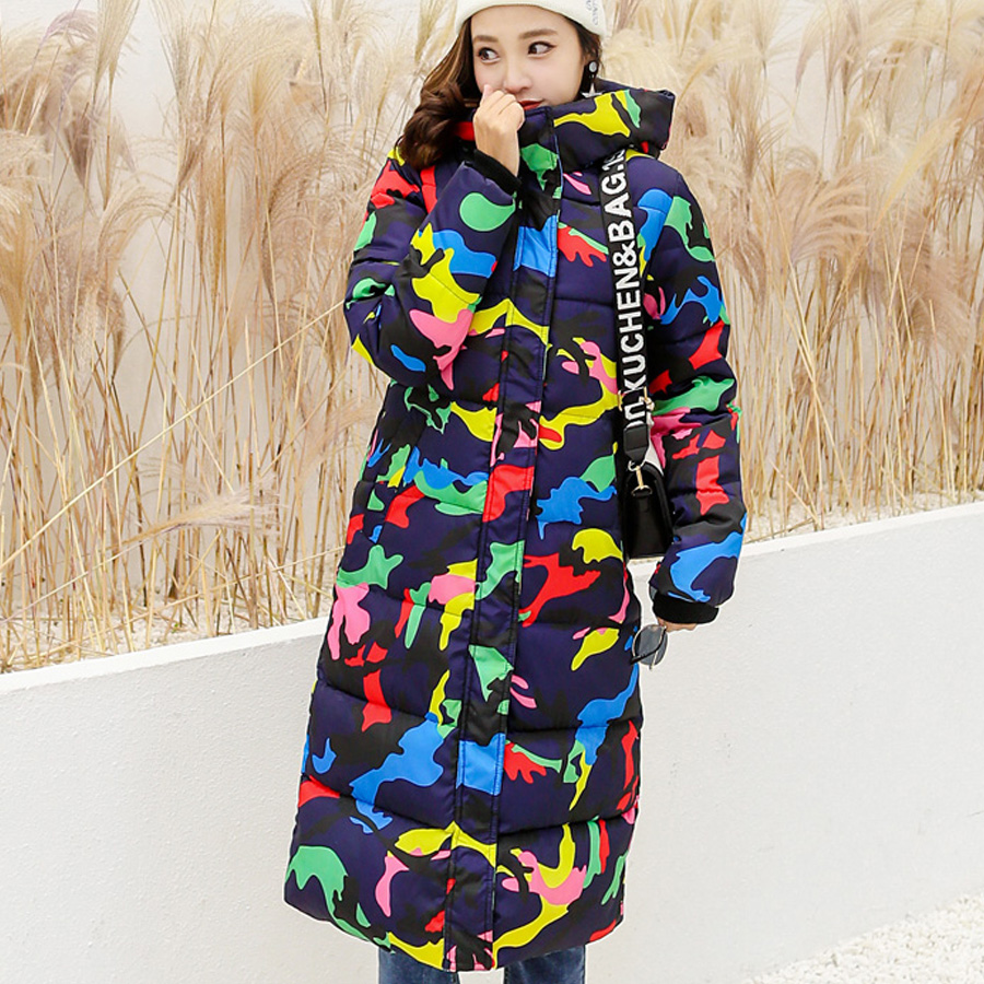 winter jacket women 2018 thicken warm cotton-padded long coat women winter hooded print   parka   outwear plus size female
