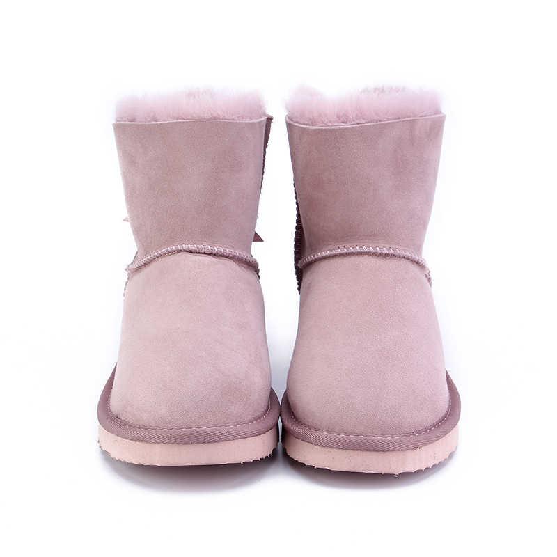 MBR FOORC koyun derisi deri yün kürk astarlı kadın kısa ayak bileği kış süet kar botları bowknots ile vizon kürk püsküller kış ayakkabı