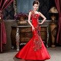 Un brindis A la novia ropa tipo de europa que restaura maneras antiguas es el nuevo espectáculo delgada un hombro vestido de noche vestido de cola de pescado