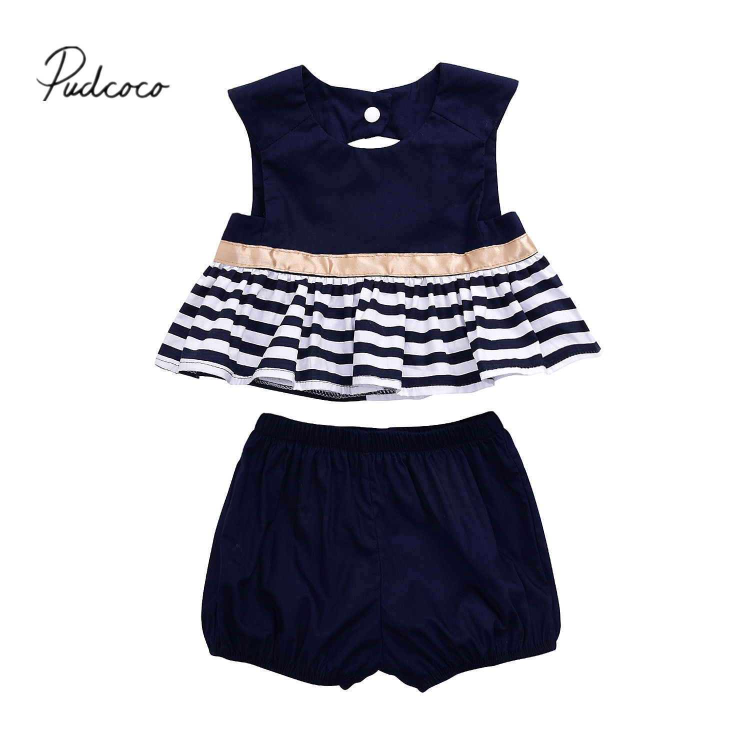 Brand Pudcoco Newborn Kids Baby Girls 2017 Summer Outfit Navy Blue Dress Top+Pants Bloomer 2PCS Bebes Clothes Set 0-18M