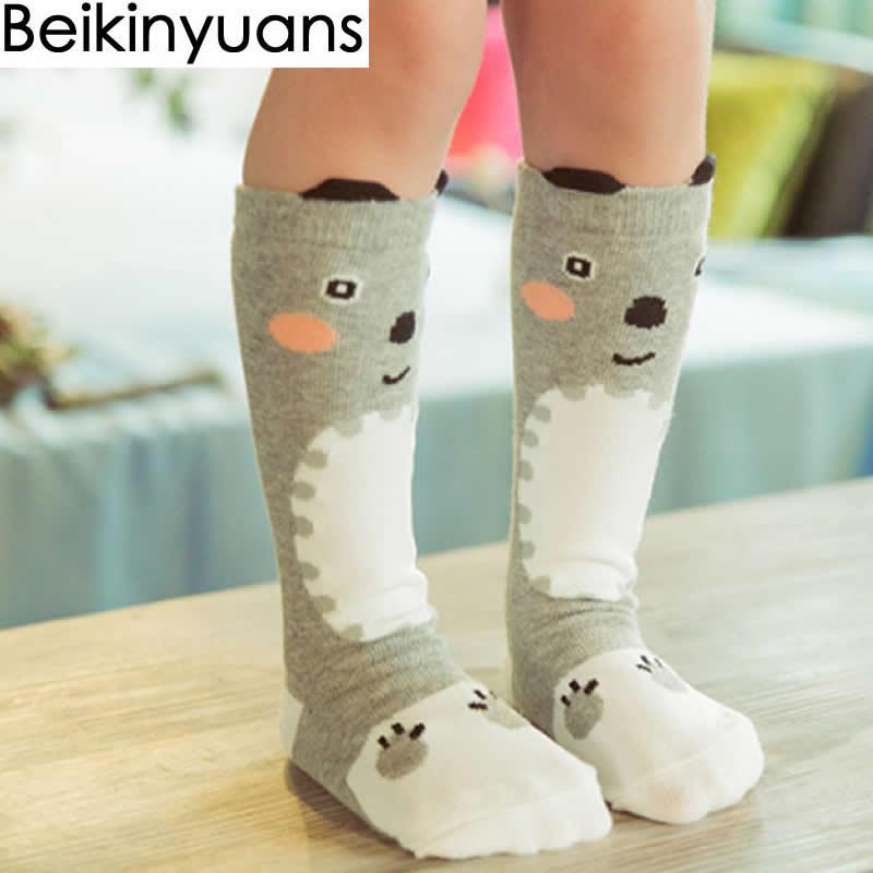 Socks Trend Mark Cartoon Fox Knee High Socks Cotton Leg Warmers Boys Girls Socks Anti Slip Kids Socks