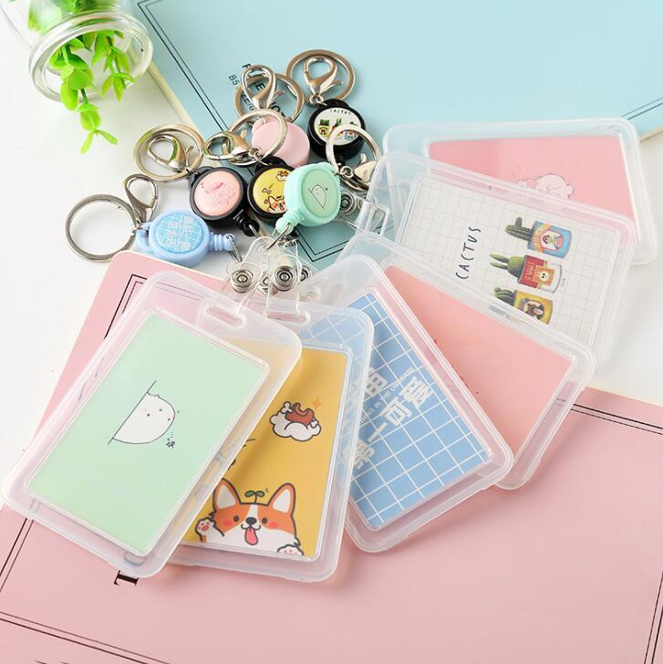 PVC Transparent Badge Holder Bank ID Card Holder Retractable Key Holder